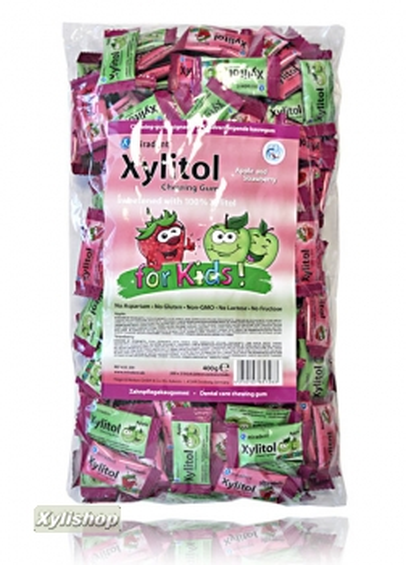 Miradent Xylit For Kids Kaugummi Apfel Erdbeere Pack 400g 200xSachets