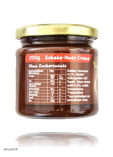 XYLIPUR Schoko-Nuss-Creme, 43% Haselnüssen, 100% Xylit, zertifiziertes Palmöl