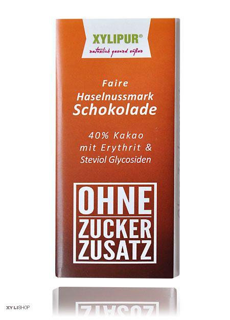 Faire Ohne Zuckerzusatz Haselnuss-Schokolade Xylipur 48% Kakao, 60g, laktosefrei