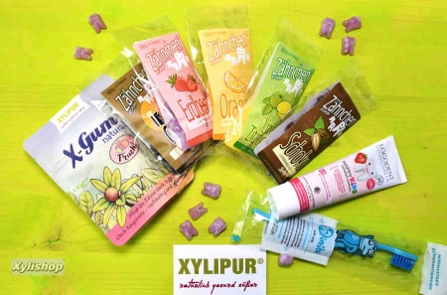 Xylitol Kinderprobierset Zähnchen®, X-Gum, Logodent, Biobrush