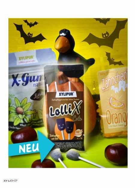 Halloween Bundle LolliX® Cola, Lakritz Gum und Zähnchen® Orange